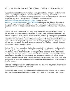 Macbeth Claim * Evidence * Reason Packet