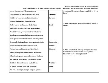 Macbeth Close Reading Guide: Act 1.6-1.7