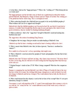 Macbeth Close Readings w/Answers