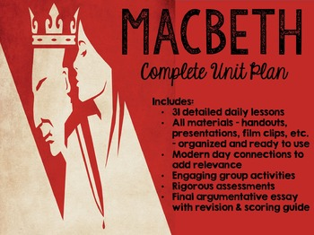 Macbeth Complete Unit with Activities, Assessments, Acting