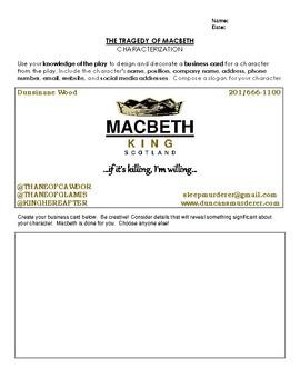 Macbeth Creative Activity - The Business Card