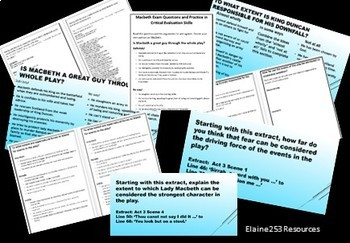 Macbeth Critical Evaluation Tasks, Extracts and Exam Style Questions