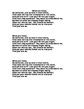Macbeth: Description of witches  (u-g-l-y)