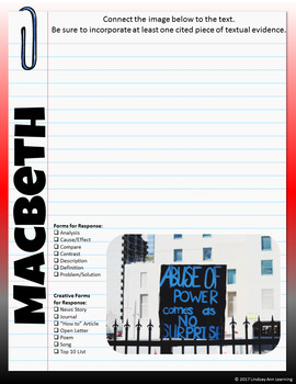 Macbeth Digital Writer's Notebook with Picture Prompts