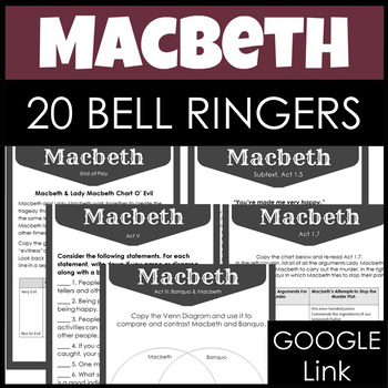 Macbeth Entry Tasks, 20 Bell Ringers or Journals for the Entire Play