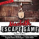 Escape Game Break Out Box Activity, Macbeth