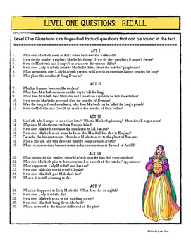 Macbeth FREEBIE:  Three Levels of Questioning with 145 Questions for Inquiry