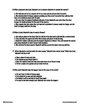 Macbeth Final Exam Test