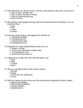 Macbeth Final Test + Answer Sheet + Answer Key