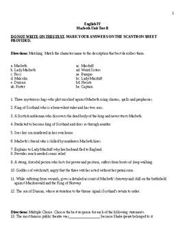 Macbeth Final Test Form B + Answer Sheet + Answer Key