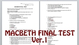 Macbeth Final Test - Multiple Choice & Speaker/Quotation Identification