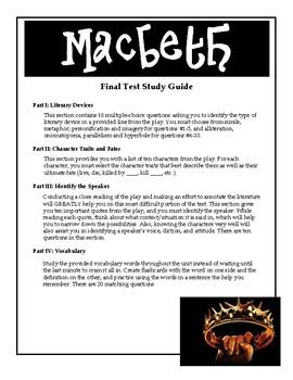 Macbeth- Final Test Study Guide