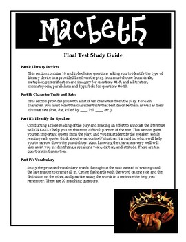 Macbeth Final Test Study Guide