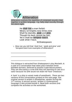 Macbeth Focus on Alliteration, Rhyme and Elizabethan Language