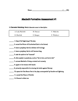 Macbeth Formative Assessments