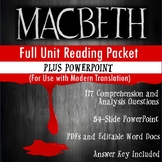 Macbeth Full Unit Guided Reading Packet and PowerPoint