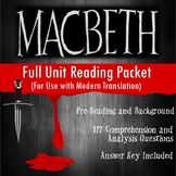 Macbeth Full Unit Guided Reading Packet (for No Fear Shakespeare)