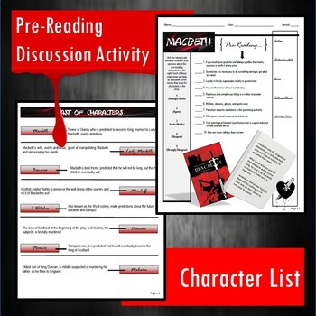 Macbeth Unit Guided Reading Packet (for No Fear Shakespeare)