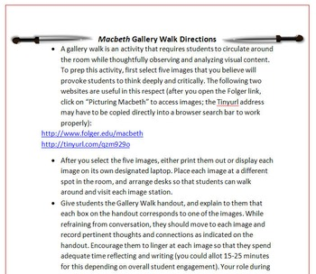 Macbeth Gallery Walk: Writing and Image Analysis for Shakespeare's Play