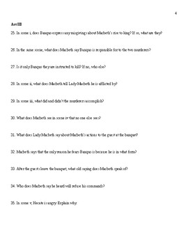 Macbeth Guided Reading Questions for Entire Play