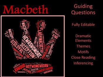 Macbeth Guiding Questions -  Fully Editable