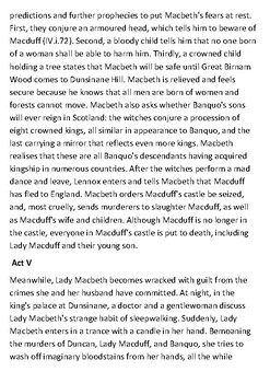 Macbeth Handout - Summary overview