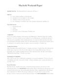 "Macbeth IB ""Weekend Paper"" Assignment"