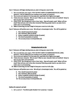 Macbeth Interpreting and Acting Activity