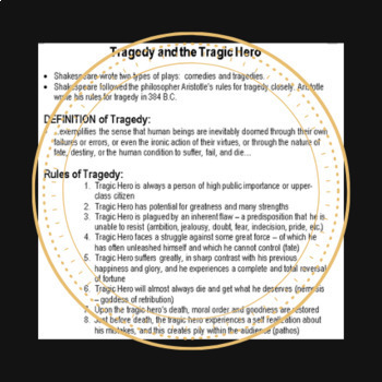 Macbeth Intro to Tragedy and the Tragic Hero Overhead Note