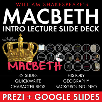 Macbeth, Introduction Lecture for Shakespeare's Play, Macbeth Intro Slides, CCSS