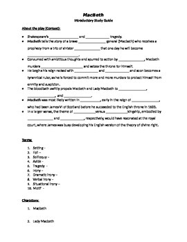 Macbeth Introductory Study Guide