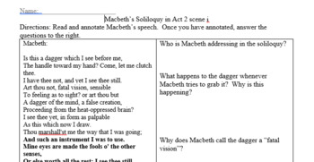 Macbeth Lesson Plan - Analysis of Act Two (90-minute period)