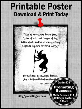 "Macbeth Halloween Poster Shakespeare Quote ""Eye of Newt"""