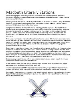 Macbeth Literacy Stations CCSS