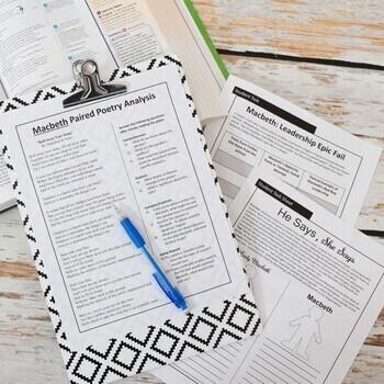 Macbeth Literature Guide, Complete Teaching Pack, Common Core Unit Plan