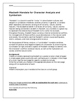Macbeth Mandala for Symbolism and Character Analysis