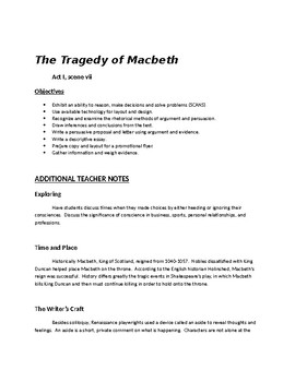 Macbeth - Master Packet Act I Scene vii (23 pages, KEYS included)