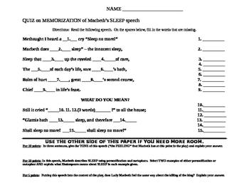 "Macbeth: Memorization quiz on ""Sleep"" speech"