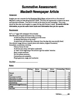 Macbeth Newspaper Article Assignment