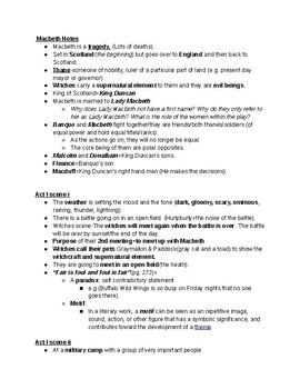 Macbeth Notes Acts I-V
