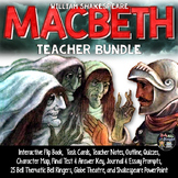 MACBETH BUNDLE, TASK CARDS, FLIP BOOK, QUIZZES, WRITING, TEST, AND NOTES