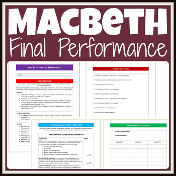 Macbeth Performance with Notebook Assignment, Scenes & Scoring Guides