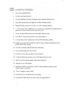 Macbeth: Pre-Reading Prediction Paragraph Assignment