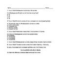 Prereading Shakespeare Quiz