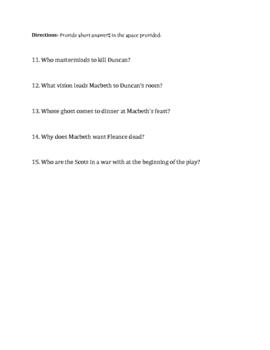 Macbeth Quiz (Act I and II)