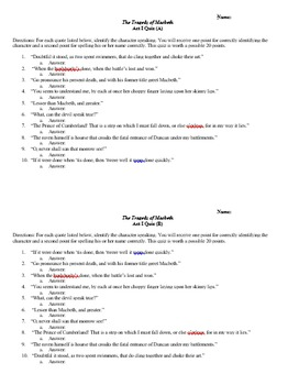 Macbeth Quizzes (Acts I-V)