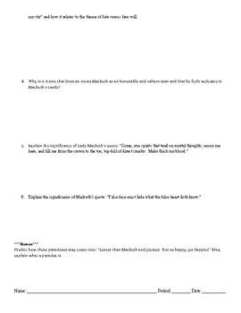 Macbeth Quizzes & Answer Keys