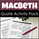 Macbeth Activity Pack with Quote Exploration and Graffiti Annotation