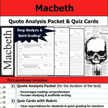 Macbeth - Quote Analysis & Reading Quizzes