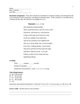 Macbeth Recitation Assignment and Gradesheet